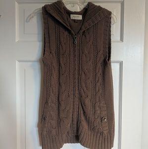 Knit zip up hooded vest